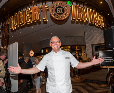 Celebrity Chef Robert Irvine standing in front of the new Robert Irvine's Public House that opened at Tropicana Las Vegas on 7.27.17.