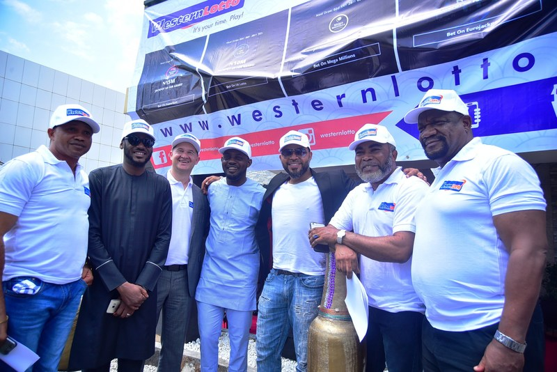 For Western Lotto are Paul Obazele, Tuface Idibia, Elvis Krivokuca, AY, Ramsey Noauh, Zack Orji and Alex Usifo (PRNewsfoto/Western Lotto)