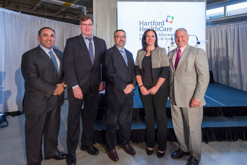 Hartford Hospital holds the ribbon cutting for the expanded Center for Education, Simulation and Innovation. Pictured: Left to right: Jeffrey Flaks, President and COO, Hartford HealthCare;  Marty Guay, President, STANLEY Healthcare; Tim Perra, Vice President of Public Affairs, STANLEY Healthcare; Tamara Boss, Vice President, Business Development, STANLEY Healthcare; Stuart Markowitz, President, Hartford Hospital