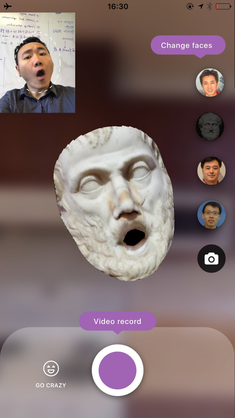 A developer implants his facial expression on Aristotle with AFanta's technology