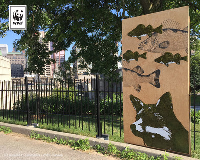Art et écologie au parc Rutherford; une initiative du WWF-Canada réalisée par l'artiste Mosstika. (Groupe CNW/Fonds mondial pour la nature (WWF-Canada))