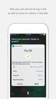 Image of the final bill payment screen when paying a bill using Siri on iPhone. (CNW Group/RBC Royal Bank)