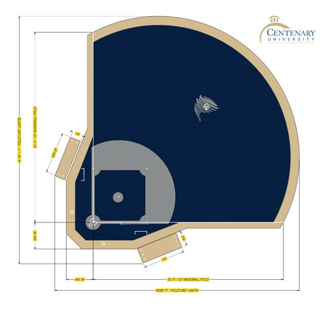 Rendering for the Centenary University baseball field