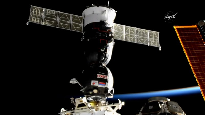 The Russian Soyuz MS-05 carrying NASA astronaut Randy Bresnik, Sergey Ryazanskiy of the Russian space agency Roscosmos, and Paolo Nespoli of ESA (European Space Agency) docked to the International Space Station at 5:54 p.m. on Friday, July 28, 2017. Credits: NASA Television