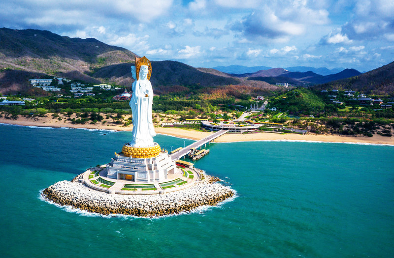 Sanya Nanshan Guanyin Statue, at 108 meters in height, the world's tallest depiction of Guanyin, a venerated Buddhist bodhisattva or goddess