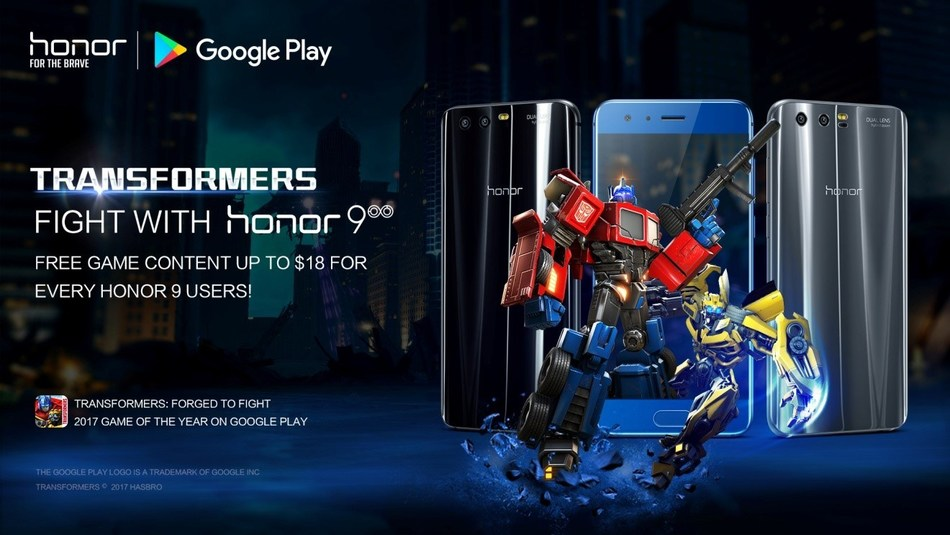 "Honor 9 users can now enjoy Google Play's ""Transformers: Forged to Fight"" gaming package"
