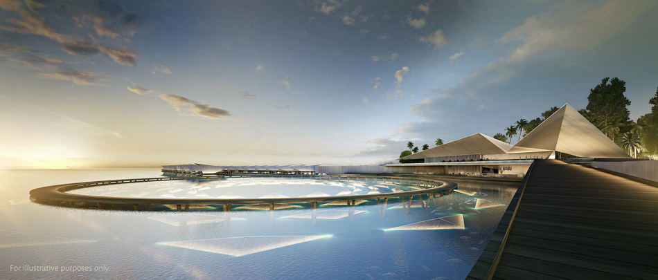 The arrival area of Singha Estate's Emboodhoo Lagoon project, a multi-island integrated leisure and recreation destination resort concept.