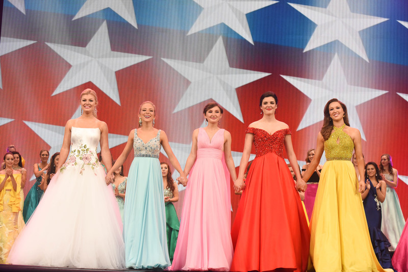 Miss America's Outstanding Teen 2018 Jessica Baeder (far left) awaits the competition results with the top semifinalists: Miss Georgia's Outstanding Teen Annie Swan, Miss Maryland's Outstanding Teen Chloe Wildman, Miss Michigan's Outstanding Teen Katie Preston and Miss Texas' Outstanding Teen Stephanie Wendt.