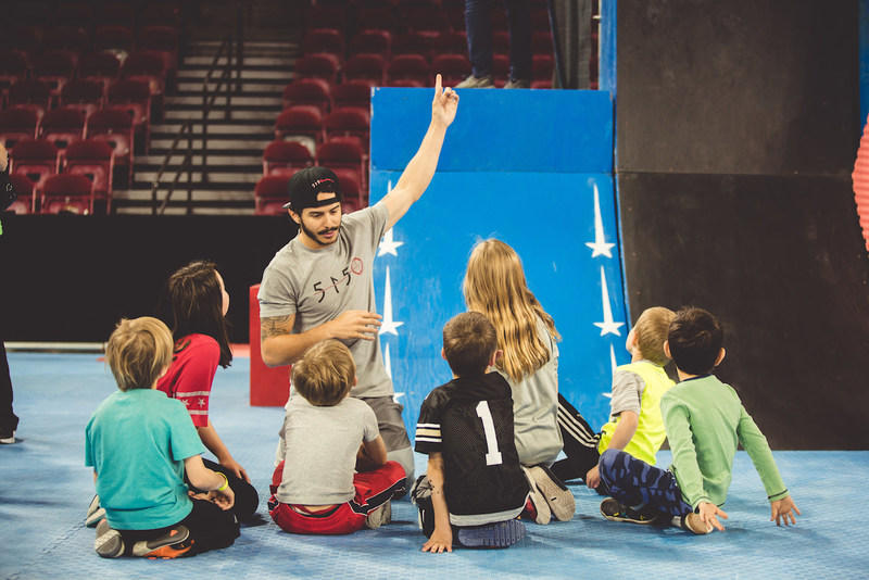 Learning Ninja skills from Elite Ninja Flip Rodriguez! These future ninjas are quick studies when their heroes are showing them how it's done.