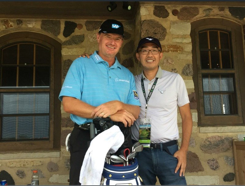 Ernie Els and 18Birdies Founder and CEO, Eddy Lui, together at the 2017 U.S. Open.