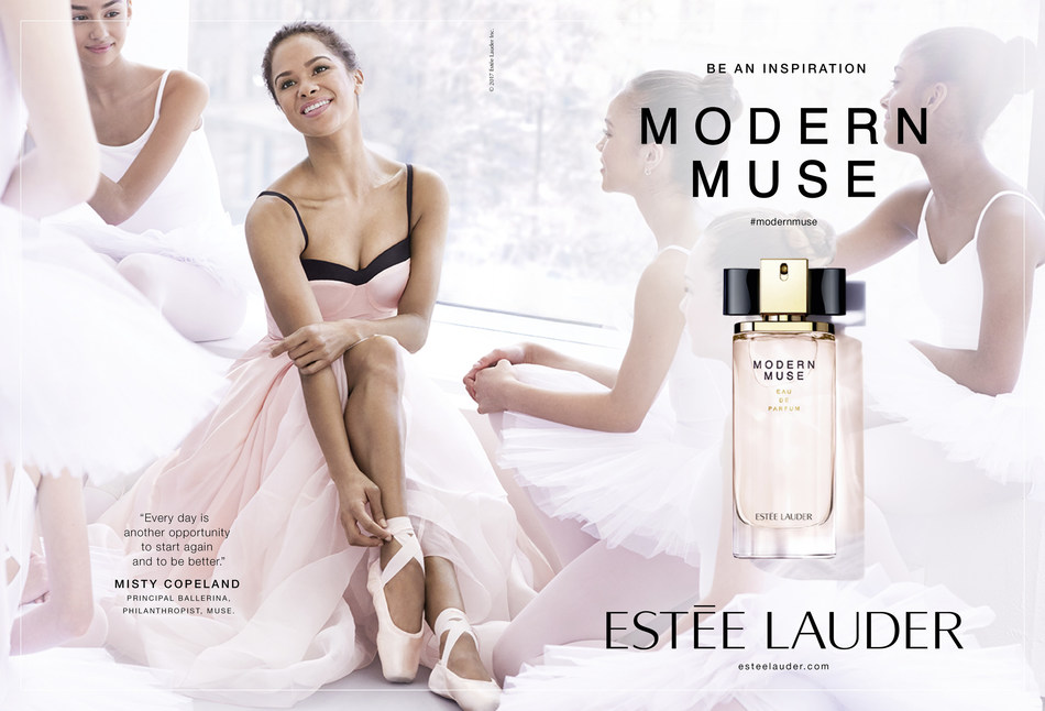 Estée Lauder introduces Misty Copeland, principal ballerina at American Ballet Theatre, as the new global spokesmodel for the Modern Muse fragrance campaign. Photo credit: Pamela Hanson.