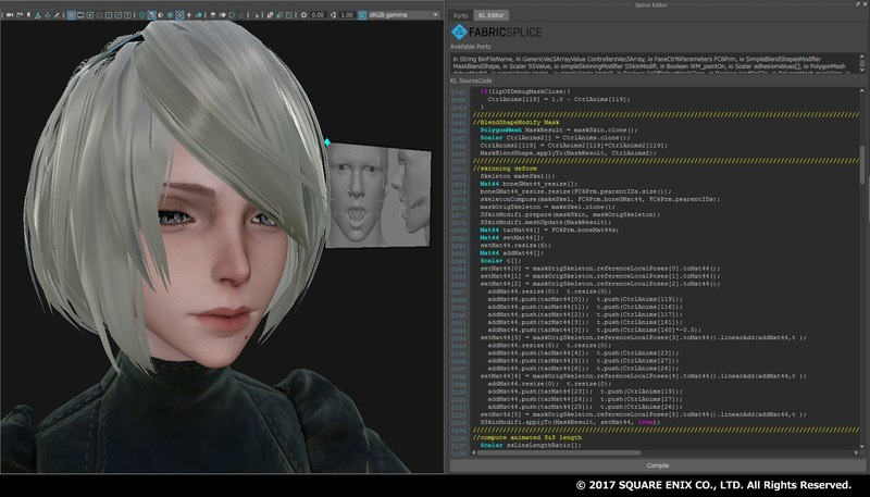 Facial deformation rig built in Fabric Engine by PlatinumGames for NieR:Automata game.