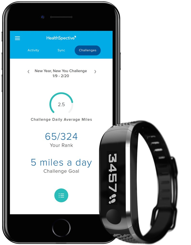 Landing page of the new HealthSpective app and the new Movband 4.
