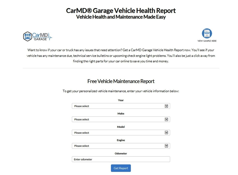 CarMD launches CarMD® Garage Online Service for Vehicle Owners and Used Car Shoppers to generate a free CarMD Garage Vehicle Health Report featuring safety recalls, vehicle maintenance, technical service bulletins and predictive insight by year, make and model or VIN. To run a free CarMD Garage vehicle health report, visit www.carmd.com/garage. View a sample report online at https://www.carmd.com/garage/sample/detail.