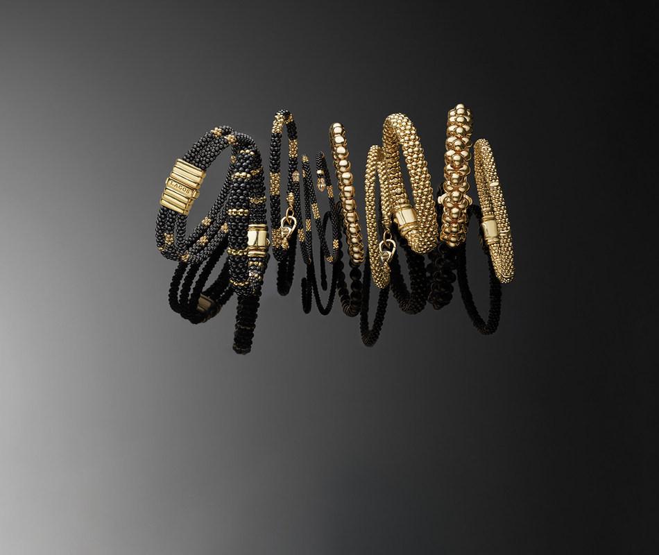 NEW LAGOS 18K Gold and Black Ceramic Caviar Bracelets