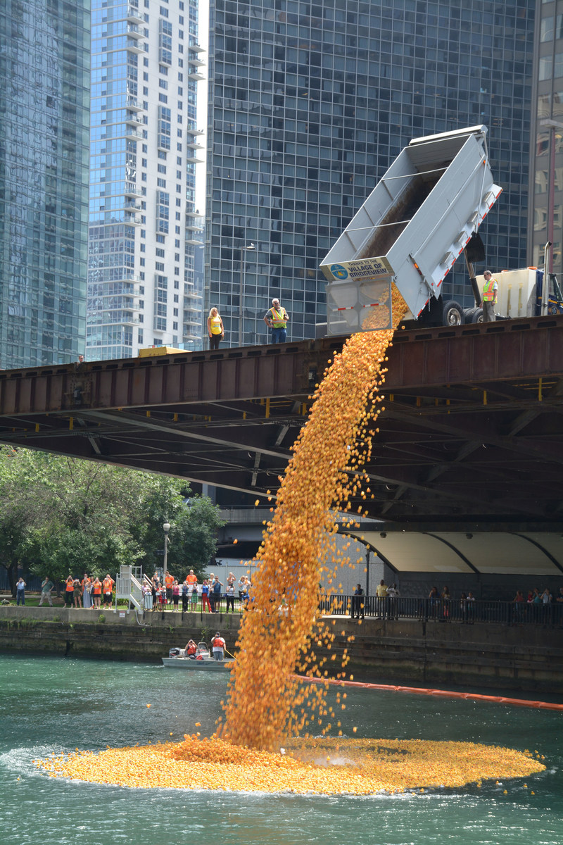 60,000 rubber ducks splash into the Chicago River to benefit the 22,500 athletes of Special Olympics Illinois.
