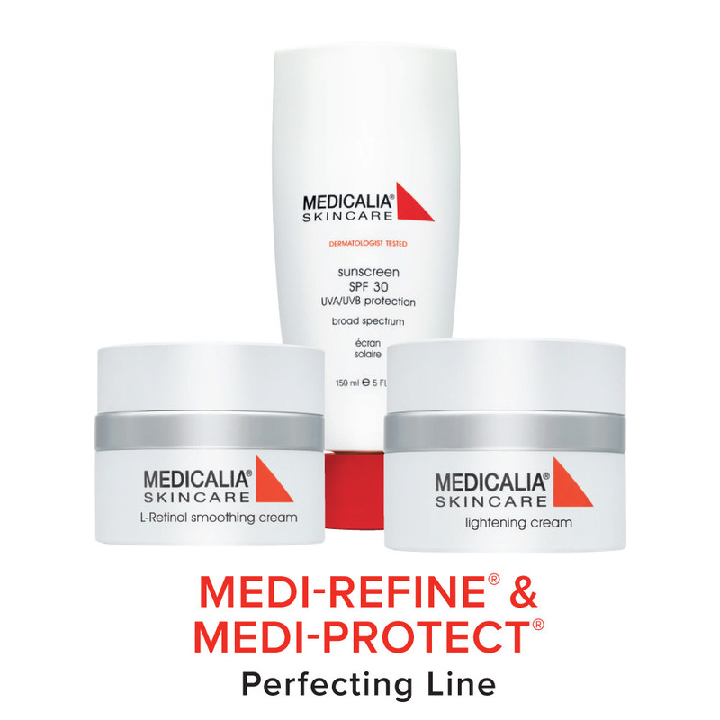 Medicalia® MEDI-REFINE® & MEDI-PROTECT® Perfecting Line - BIOMIMETIC TECHNOLOGY - An innovative technology in manufacturing skincare creams. Biomimetic Technology restructures and processes man-made natural substances in identical repairing systems that mimic and replace the skin's natural elements. In doing so, these multi-phase creams can address complex skin problems and deliver increased stability, refined texture, and extreme efficacy for extraordinary results.
