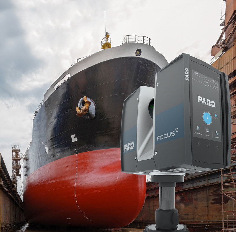 Scanning hulls on dry-docks is an ideal application for the FARO Focus S 70 Laser Scanner.