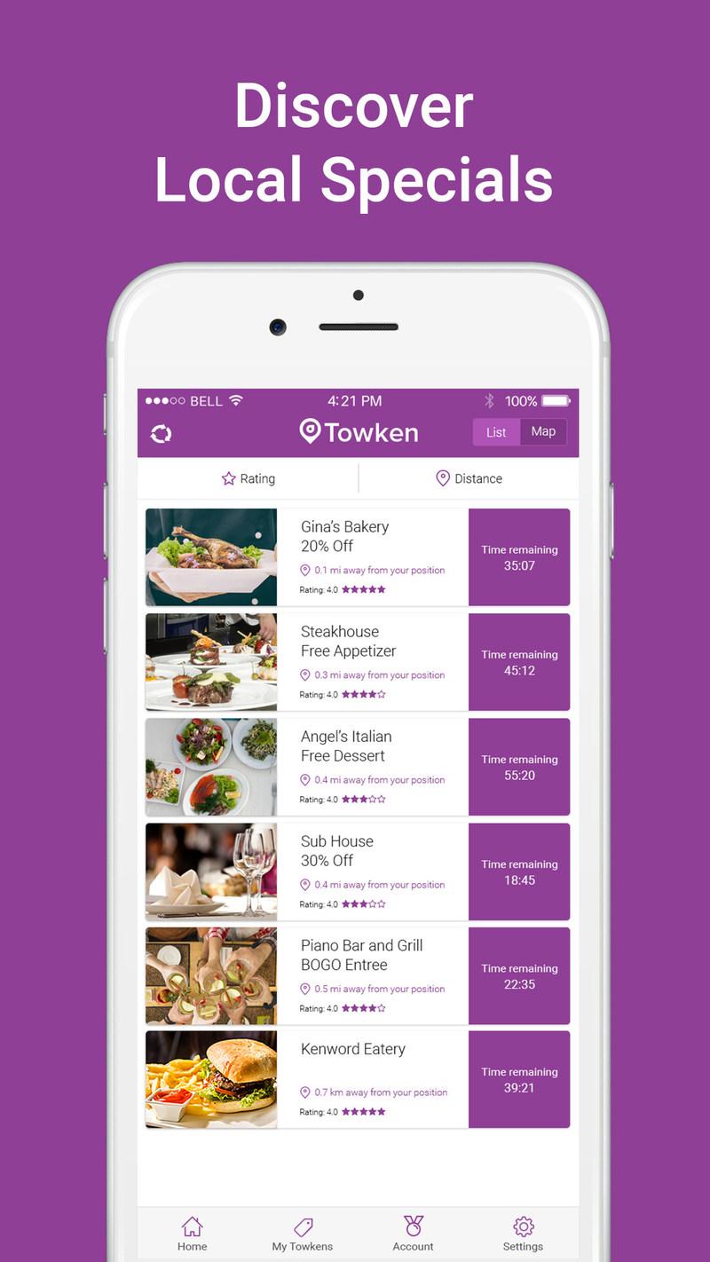 Find local specials to restaurants using Towken!