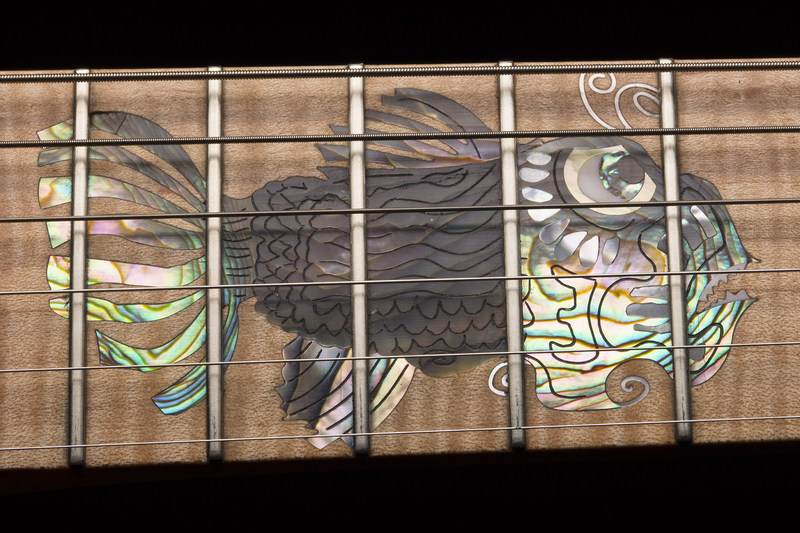 """""""Ocean"""" Guitar w/ Jerry Garcia """"Fish"""" Etching Inlay Luthier: Thomas Lieber * Photo credits: Milo Stewart Jr. Staff Photographer National Baseball Hall of Fame"""