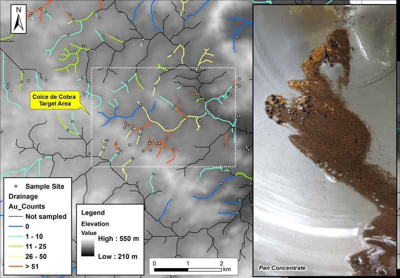 Figure 1: Stream anomalies with drainage coloured by gold counts, with digital elevation model in the background. Boxed area prioritized for infill soil and mapping illustrated in more detail in Figure 2. (CNW Group/Meridian Mining S.E.)
