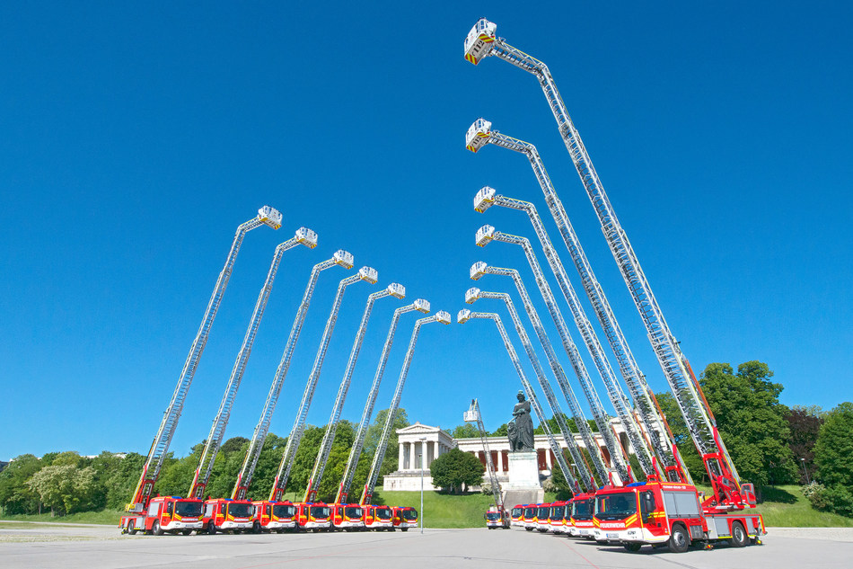 Magirus turntable ladders in front of the Bavaria in Munich (Copyright: Magirus) (PRNewsfoto/Magirus)