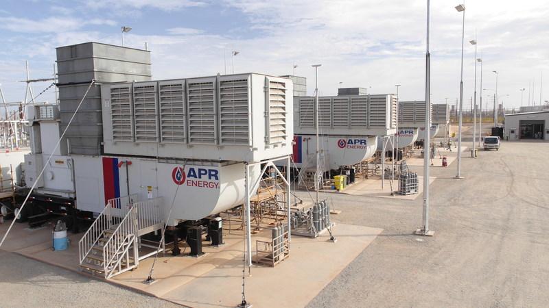 Usina de energia com turbina móvel da APR Energy, amigável em relação às emissões, em Port Hedland, Pilbara, na Austrália Ocidental. (PRNewsfoto/APR Energy)