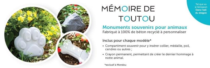 Mondou offre désormais les produits Mémoire de Toutou dans tous ses magasins. (Groupe CNW/Mondou)