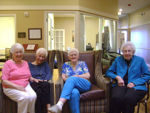 From high school to neighbors at Brookdale Niles, friends Rochelle Schpak, Phyllis Dubow, Florence Burgher and Eileen Kritzman will celebrate 70+ years of friendship on National Friendship Day, August 6, 2017.
