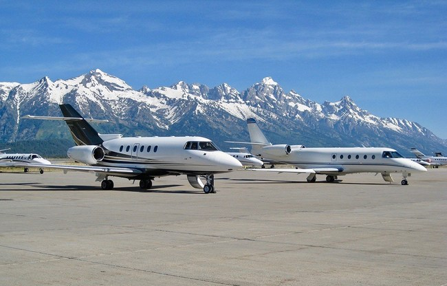 Private Jets on the ramp at Jackson Hole Airport.  Photo: New Flight Charters