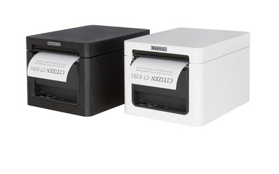 The CT-E351 is Citizen's newest, stylish, front-exit 3-inch receipt printer available in stunning black or pure white.