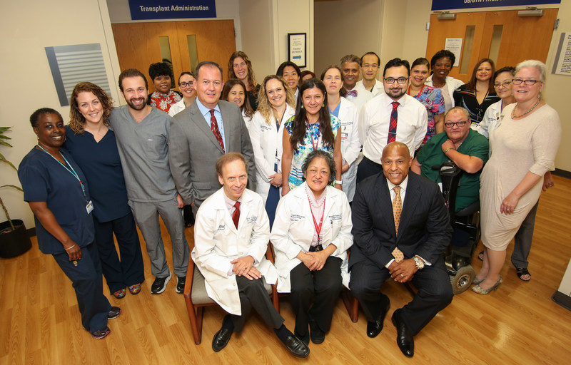 (Front row left to right) Dr. Mark J. Zucker, Director, Cardiothoracic Transplant; Dr. Margarita Camacho, Surgical Director, Heart Transplant; and Darrell K. Terry, Sr., President and CEO Newark Beth Israel Medical Center and Children's Hospital of New Jersey and the Heart Failure Treatment and Transplant team gather for a photo after performing the program's milestone 1,000th Heart Transplant.