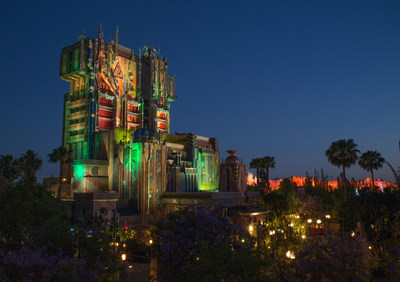 The exterior of The Collector's Fortress shimmers as night falls at Disney California Adventure Park. The all-new attraction Guardians of the Galax - Mission: BREAKOUT! takes guests through the Fortress of The Collector, who is keeping his newest acquisitions, the Guardians of the Galaxy, as prisoners. Guests board a gantry lift which launches them into a daring adventure as they join Rocket in an attempt to set free his fellow Guardians. (Rob Sparacio/Disneyland Resort)