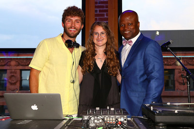 From left to right: New York-based fashion designer, DJ and juror Timo Weiland, winning designer Audra Noyes and Noyes' design partner Grandmaster Maurice Ashley photographed at the Pinned! Designer Chess Challenge Unveiling at the 2017 Sinquefield Cup Opening Ceremony on Tuesday, Aug. 1, 2017 in St. Louis, Mo. (Dilip Vishwanat/AP Images for World Chess Hall of Fame)