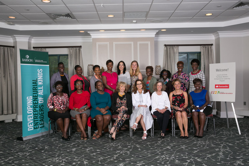 Babson Launch and Grow participants with María Teresa Fernández de la Vega Sanz, President of Women for Africa Foundation; Alicia Cebada, Professor and Project Manager of Women for Africa Foundation; Susan Duffy, Co-Faculty Director and Executive Director of CWEL at Babson College; Mary Gale, Co-Faculty Director and Senior Lecturer at Babson College; Alecia Gisela Lokpez, Director Business Development at Babson Executive Education; Carlen Alder, Project Manager at Babson Executive Education.