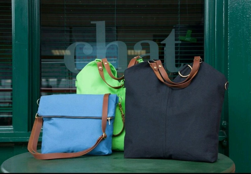 Image of The Blue Crossbody, The Black Tote, & The Green Tote.  3 items within The Lambert Bag Co's Signature Collection