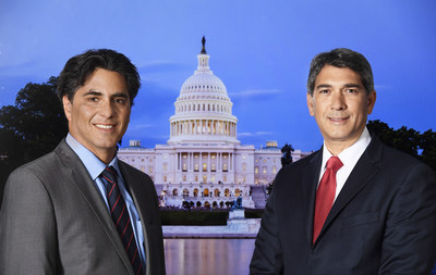 MetTel CEO Marshall Aronow (left) and Chief Operations Officer Andoni Economou (right) flank the US Capitol Building in Washington, DC. MetTel was selected by the US General Services Administration (GSA) for the $50 Billion Enterprise Infrastructure Solutions (EIS) Government Transformation Initiative