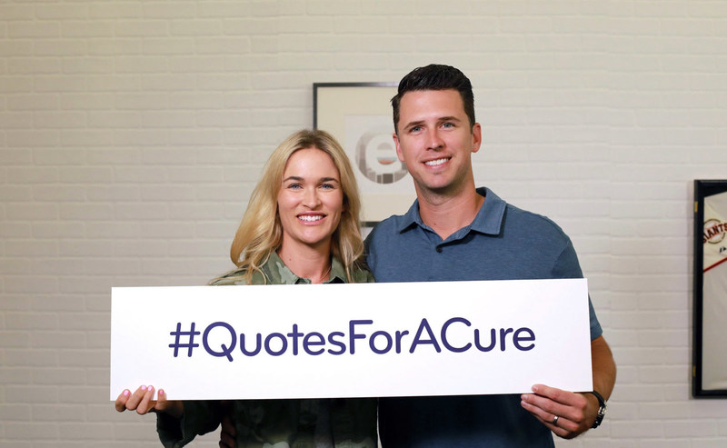"""San Francisco Giants catcher Buster Posey, along with his wife Kristen, announced a joint philanthropic effort with Esurance called """"Quotes for a Cure"""" to raise awareness and money for pediatric cancer. Throughout August, each time someone completes an auto insurance quote with Esurance by visiting www.esurance.com/QuotesForACure, the company will donate $10 to the Buster and Kristen Posey Fund with a goal to raise $150,000."""