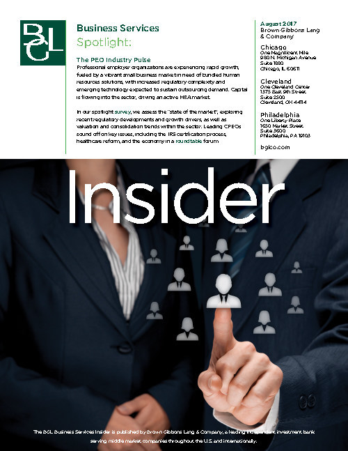 BGL Business Services Insider Aug 2017 PEO Industry Poised for Increased Market Penetration and Consolidation