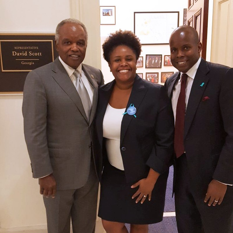 From left to right, Congressman David Scott (D-GA-13), Sasha Ottey (Executive Director, PCOS Challenge) William R. Patterson (Public Relations Director, PCOS Challenge)