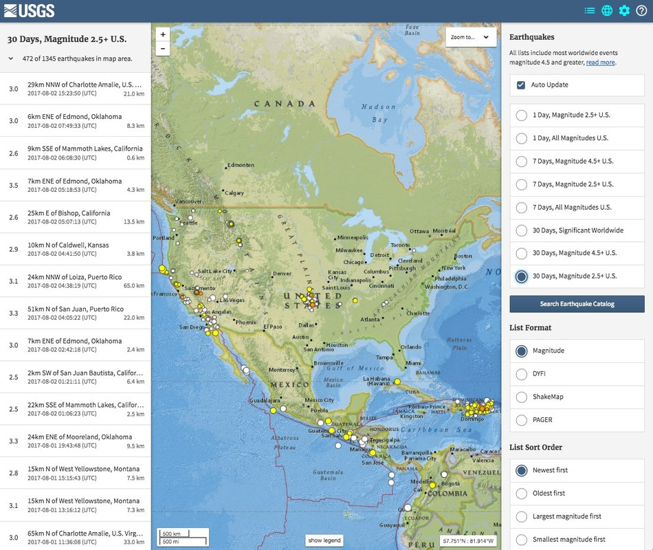 Screenshot From USGS Latest Earthquakes Map (M2.5 and >, 30 Days Worldwide [U.S. Zoom])