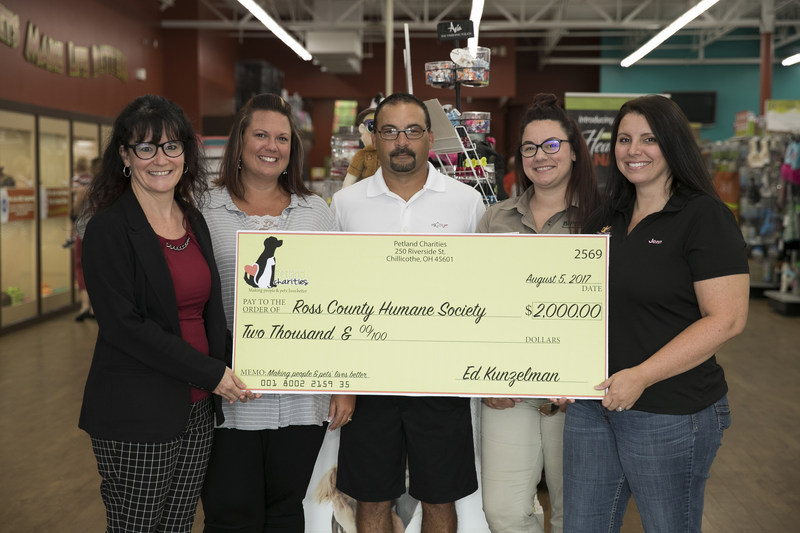 Petland presents check to Ross County Humane Society. From left: Elizabeth Kunzelman, Petland Director of Public Affairs; Chrissy Downs, Petland's Director of Financial Reporting; Dave Thomas, Ross County Humane Society Board; Krystal Reveal, Petland Chillicothe General Manager; and Jenn Thomas, Ross County Humane Society Executive Director.