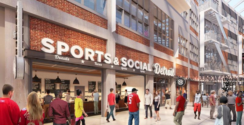 Conceptual Rendering - Sports & Social Detroit Interior