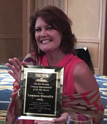 Leeann Manalla of SageSure Insurance Managers was named the 1752 Club Company Representative of the Year Award by the Professional Insurance Agents (PIA) of Louisiana