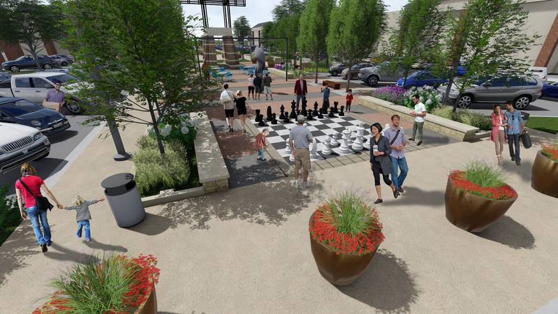 A life-size chessboard will be one of the features in the enhanced central courtyard area of Geneva Commons.