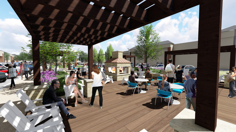 Pergolas, fireplace and comfortable seating will provide an inviting, park-like atmosphere for shoppers.
