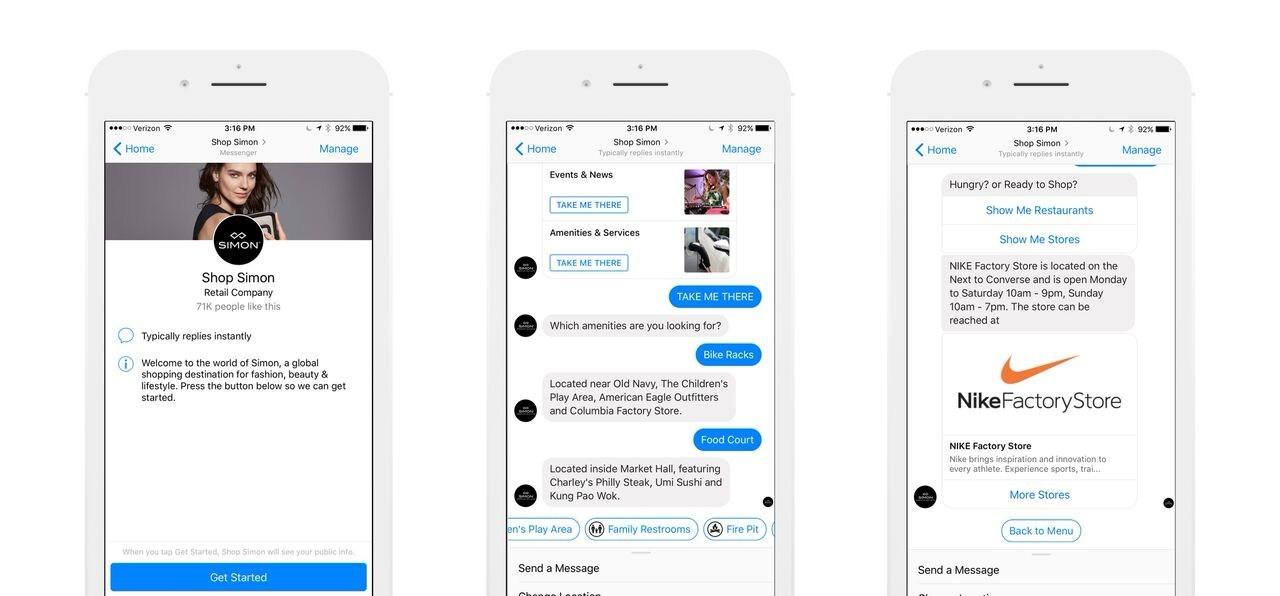 Simon's Facebook Messenger Bot provides a complete concierge experience.