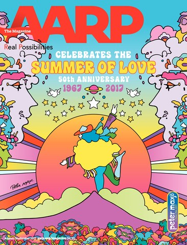 Summer of Love cover of the August/September issue of AARP The Magazine created by Peter Max