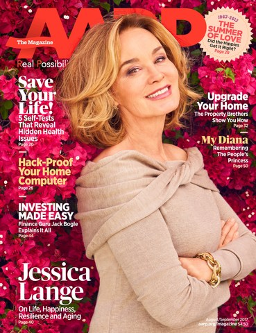 Jessica Lange on the cover of the August/September issue of AARP The Magazine