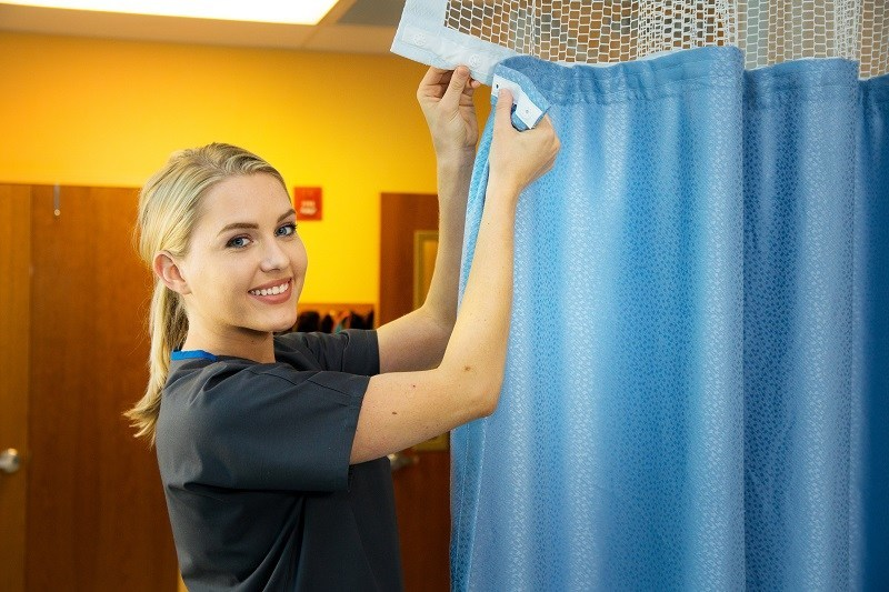 Prime Medical's Quick-Change Privacy Curtains retain a shield of chlorine molecules to kill germs while the products are in use. The next-generation fabric technology harnesses the power of chlorine with each wash in EPA-registered bleach, without fading the fabric.